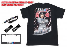 SSR Wheels License Plate Frame, Sticker, Lanyard Combo w/ FREE CF T-Shirt